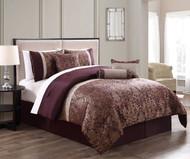 7 Piece Milano Jacquard Purple/Gold Comforter Set Queen