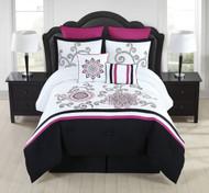 8 Piece Kassandra Rose/Black/White Comforter Set King