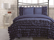 2-pieces Midnight Blue Textured Ruffle Soft Comforter Set , Twin Size