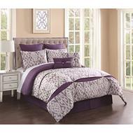 8 Piece Rianna Jacquard Purple/Ivory Comforter Set King