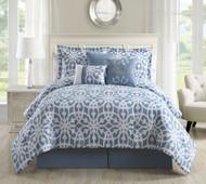 7 Piece King Promise Blue/White Comforter Set