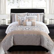 6 Piece King Santee Taupe/Gold Reversible Comforter Set