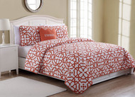 4 Piece Queen Energy White/Coral Quilt Set