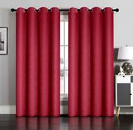 Pair of Susan Burgundy Blackout Embossed Window Curtain Panels w/Grommets