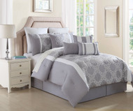 10 Piece Queen Lemieux Gray/White Comforter Set