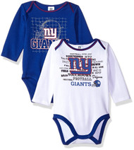 "NFL ""NY GIANTS"" 2-Pack Long Sleeve Bodysuit (18 months)"