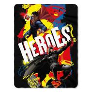 """Dawn of Justice """"Super Heroes"""" Fleece Throw Blanket"""