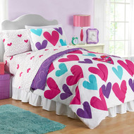 Hearts Twin Size Reversible Comforter and Sham Set
