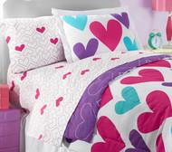 Hearts Twin Size Sheet Set