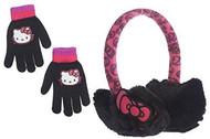 Hello Kitty Plush Ear Muffs & Gloves Set- One Size (Black)
