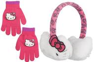 Hello Kitty Girls Plush Ear Muff & Gloves Set- One Size (White)