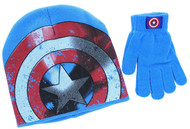 Captain America 2-Piece Knit Hat and Glove Set (Blue)