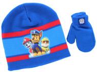 Paw Patrol Toddler Beanie Hat & Mittens Set (Blue)