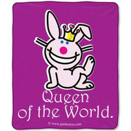 """It's Happy Bunny """"Queen of the World"""" Plush Throw"""