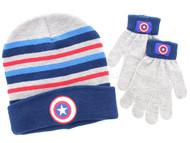 Captain America 2-Piece Knit Hat and Glove Set (Dark Blue)
