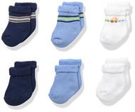 Gerber Baby Boys 6-Pack Variety Socks - Transportation