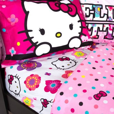 hello kitty floral full size sheet set kids whs