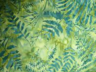 "B3316-spruce, Tonga,  Timeless Treasures, Light green background with darker marine green tree design, 100% premium cotton batik, 42"" wide"