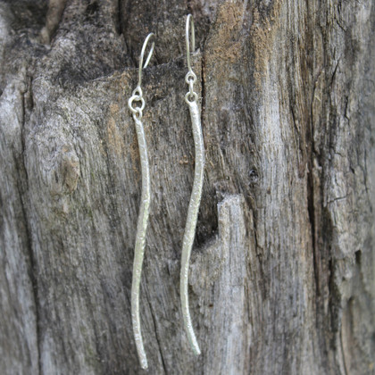 Silver thin drop earrings with sterling silver posts