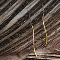 Brass thin drop earrings with sterling silver posts