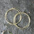 Large multi hoop brass earrings with sterling silver posts
