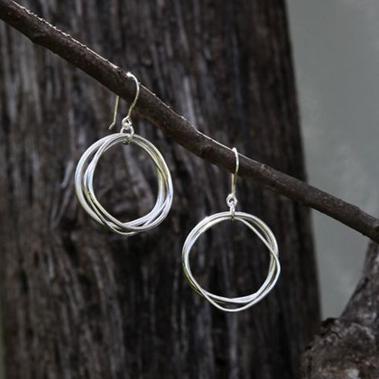 Small silver wavy circle drop earrings with sterling silver posts