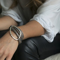 Thin charcoal leather multi wrap bracelet with silver detail and toggle closure