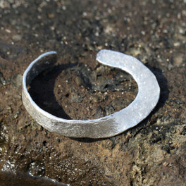 A hammered, twisted silver cuff bracelet
