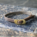 Thin chocolate brown leather bracelet with brass closure