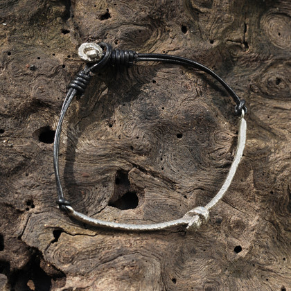 Black leather bracelet with silver detail