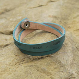 Turquoise leather multi wrap bracelet with inspirational phrase
