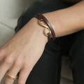 Chocolate brown leather multi wrap bracelet with brass closure
