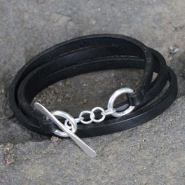 Black multi wrap leather bracelet with silver toggle closure