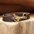 Brown multi wrap leather bracelet with brass toggle closure