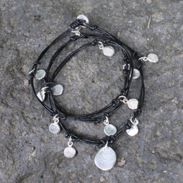 Black leather cord multi wrap bracelet with silver detail