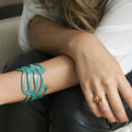 Turquoise leather cuff bracelet with cut out detailing