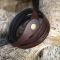 Chocolate brown leather multi wrap bracelet with snap closure