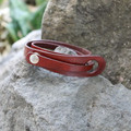 Red leather multi wrap bracelet with silver snap closure