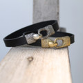 Silver bronze and brass toggle closures on leather bracelets