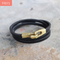 Brass toggle closure on chocolate brown leather wrap bracelet