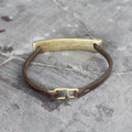Brass detailing on chocolate brown leather bracelet