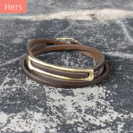 Brass detailing on chocolate brown leather wrap bracelet