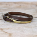 Brass closure on chocolate brown mens leather wrap bracelet