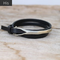 Silver bronze closure on black mens leather wrap bracelet