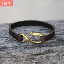 Brass detail on chocolate brown leather bracelet