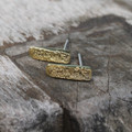 Brass textured earrings on sterling silver posts