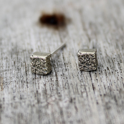 Silver textured earrings on sterling silver posts