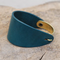 Brass with teal leather bracelet