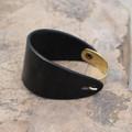 Brass with black leather bracelet