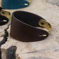 Brass with chocolate brown leather bracelet